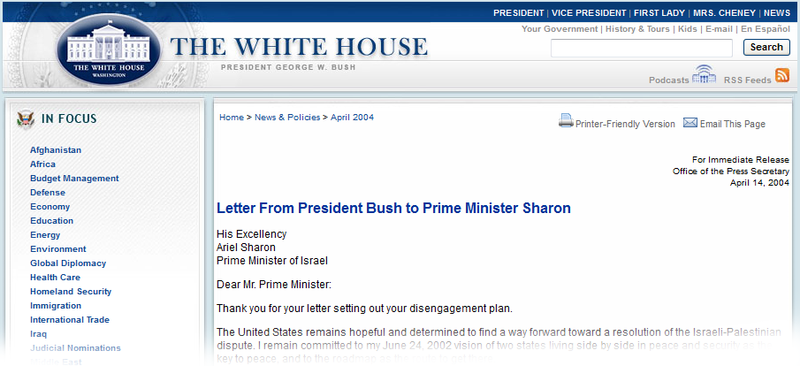 Bush Letter to Sharon